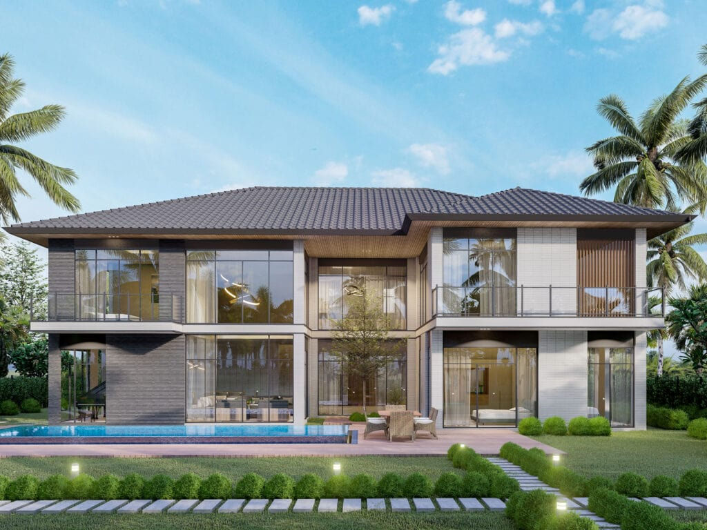 Dinh thự waterpoint ven sông - Riverfront Grand Villa mẫu 3 mặt sân