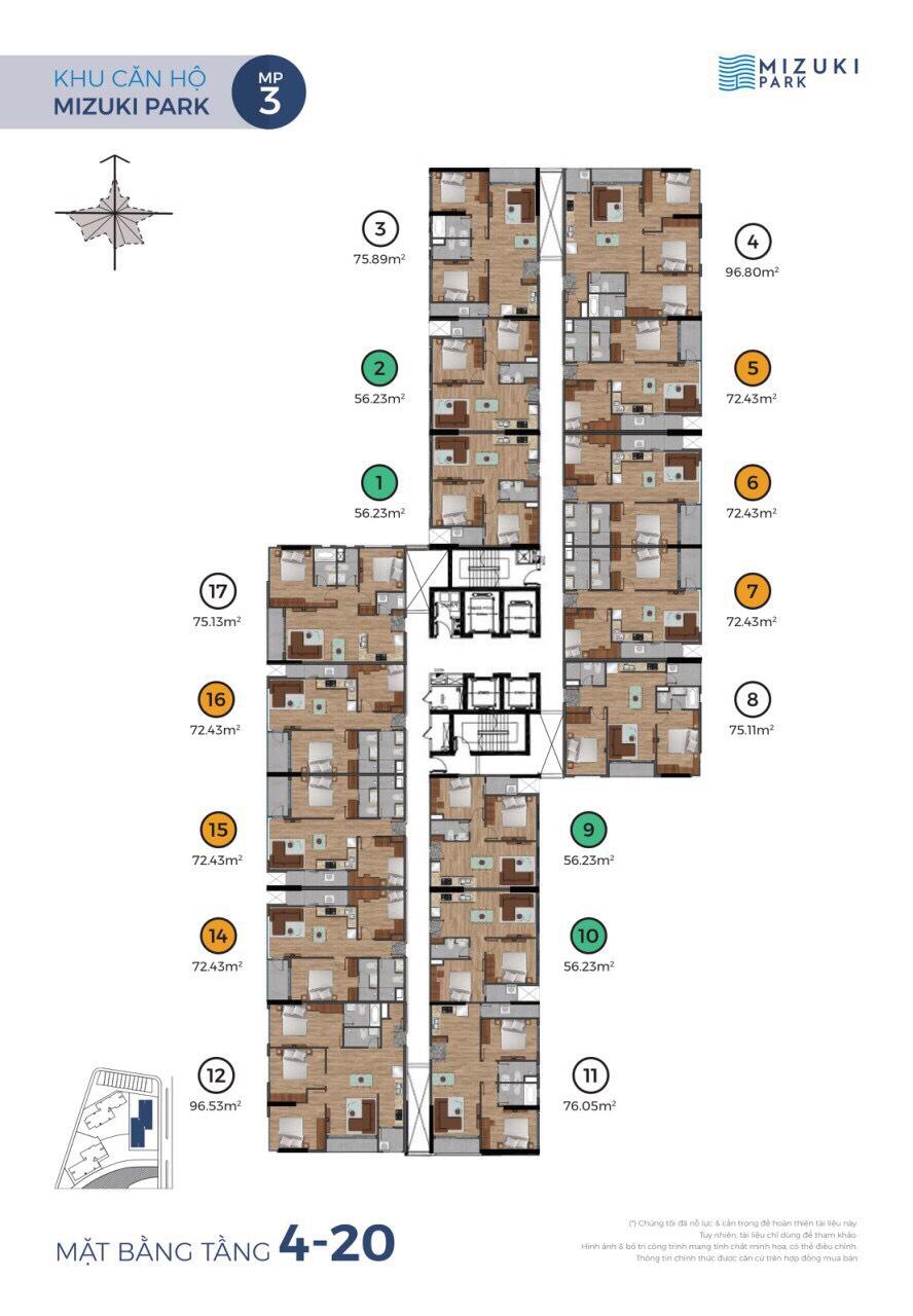 mặt bằng 4-20 tháp mp3 mizuki park