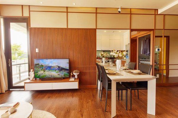 không gian phòng khách 72m2 mizuki park
